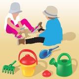 Dzieci bawić się na piasku Fotografia Royalty Free
