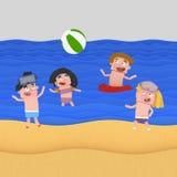 Dzieci bawić się plażową piłkę przy plażą ilustracja wektor