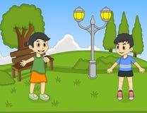 Dzieci bawić się przy parkową kreskówka wektoru ilustracją Obrazy Stock