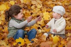 Dzieci Bawić się W liściach Zdjęcia Royalty Free