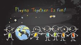 Dzieci bawić się wpólnie dla pokoju, praca zespołowa ilustracja wektor