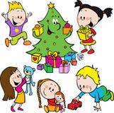 Dzieci bawić się z zabawkami ilustracji