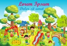 Dzieci bawić się z zabawkami na boisku w parkowym wektorze royalty ilustracja