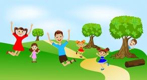 Dzieci bawić się zielonego gazon ilustracji