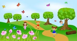 Dzieci bawić się zielonego gazon royalty ilustracja