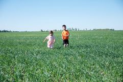 Dzieci biega w polu na zielonej trawie przy latem, szczęśliwym uśmiechający się dwa dzieciaków - brat i siostra Obraz Stock