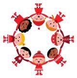 dzieci bożych narodzeń okręgu śliczny wielokulturowy ilustracji