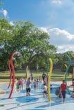 Dzieci bryzgają ochraniacza lub kiści Parr zmielonego parka, winorośl, Teksas, obrazy royalty free