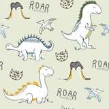 Dzieci?cego dinosaura bezszwowy wz?r dla mody odziewa, tkanina, t koszula r?ka patroszony wektor ilustracji