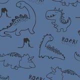 Dzieci?cego dinosaura bezszwowy wz?r dla mody odziewa, tkanina, t koszula r?ka patroszony wektor ilustracja wektor