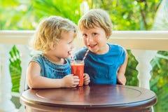 Dzieci chłopiec i dziewczyna piją pomarańczowego smoothie od melonowa obraz royalty free