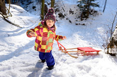 Dzieci ciągną saneczki na halnej drodze w drewnach Obraz Royalty Free