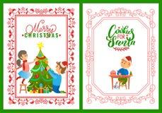 Dzieci Dekoruje Drzewnych Wesoło boże narodzenia Pocztówkowych royalty ilustracja