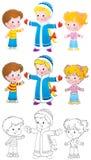 dzieci dziewczyny śnieg ilustracji