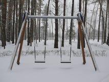 Dzieci huśtawkowi w lesie zakrywającym z śniegiem zdjęcia stock