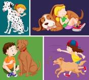 Dzieci i śliczni psy ilustracja wektor