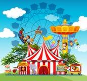 Dzieci i ludzie przy parkiem rozrywki ilustracja wektor