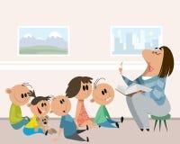 Dzieci i opiekun w dziecinu royalty ilustracja