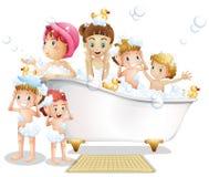 Dzieci i skąpanie ilustracja wektor