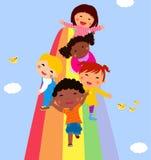 Dzieci i tęcza Obrazy Stock