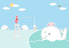 Dzieci i wieloryb na biegunów północnych tło, projekt dla dzieciak karty Zdjęcia Royalty Free