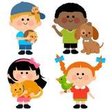 Dzieci i zwierzęta domowe ilustracji