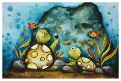 Dzieci ilustracyjni z żółwiami ilustracja wektor