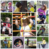 dzieci kolażu boisko zdjęcia royalty free