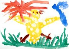 dzieci koloru rysunkowa farb s woda Zdjęcia Royalty Free
