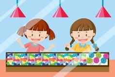 Dzieci kupuje słodkiego cukierek ilustracja wektor