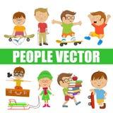 Dzieci Ludzie wektorowi z różnorodnymi charakterami ilustracji