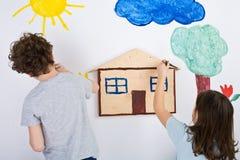 dzieci malować Obrazy Royalty Free