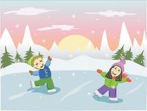 Dzieci na łyżwiarskim lodowisku Zdjęcia Royalty Free