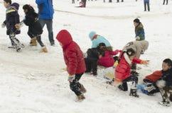 Dzieci na śniegu Zdjęcie Royalty Free