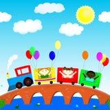 Dzieci na pociągu Fotografia Royalty Free