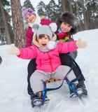 Dzieci na saniach w śniegu Zdjęcie Stock