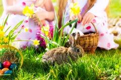 Dzieci na Wielkanocnego jajka polowaniu z królikiem Zdjęcia Royalty Free
