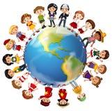Dzieci od wiele krajów dookoła świata royalty ilustracja