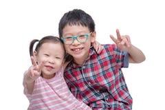 Dzieci odizolowywający nad białym tłem Fotografia Royalty Free