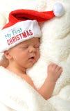 Dzieci pierwszy boże narodzenia Fotografia Royalty Free