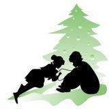 Dzieci piszą liście Święty Mikołaj Obraz Stock