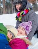 Dzieci plaing w śniegu Obraz Stock