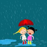 Dzieci pod parasolem w deszczu royalty ilustracja