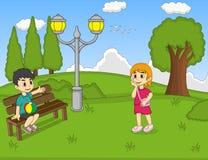Dzieci przy parkową kreskówką Zdjęcie Royalty Free