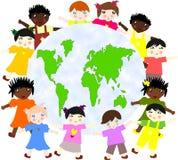 Dzieci różne rasy wokoło mapy Zdjęcie Stock