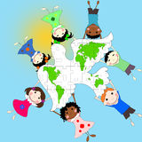 Dzieci różne rasy z gołąbką i mapą świat, Zdjęcia Royalty Free