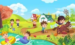 Dzieci robią sportom jak Bawić się futbol, dopłynięcie, bieg i Końską jazdę, ilustracja wektor