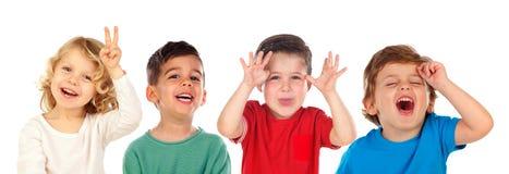 Dzieci robi dowcipowi i śmiać się Zdjęcia Royalty Free