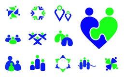 Dzieci, rodzina, społeczności grupy ikon ludzie i symbole, royalty ilustracja