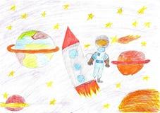 Dzieci rysuje astronautyczną planety rakietę Obrazy Royalty Free